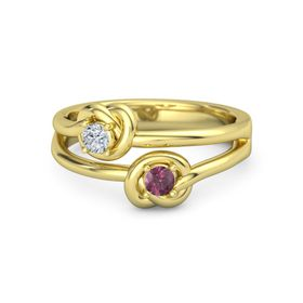 14K Yellow Gold Ring with Rhodolite Garnet & Diamond