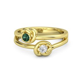 14K Yellow Gold Ring with White Sapphire & Alexandrite