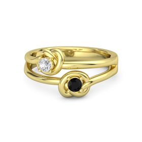 14K Yellow Gold Ring with Black Onyx & White Sapphire