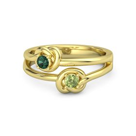 14K Yellow Gold Ring with Peridot & Alexandrite