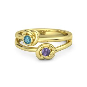 14K Yellow Gold Ring with Iolite and London Blue Topaz
