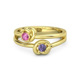 14K Yellow Gold Ring with Iolite and Pink Tourmaline
