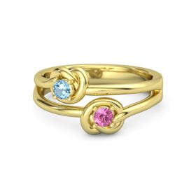 14K Yellow Gold Ring with Pink Tourmaline and Blue Topaz
