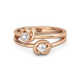 18K Rose Gold Ring with Rock Crystal and White Sapphire