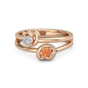 18K Rose Gold Ring with Fire Opal and Diamond