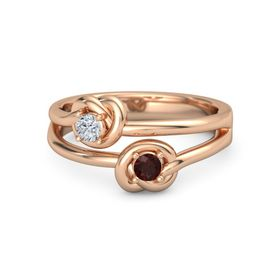 18K Rose Gold Ring with Red Garnet and Diamond