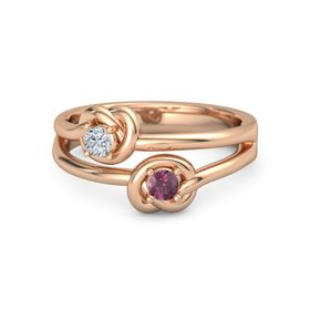 18K Rose Gold Ring with Rhodolite Garnet and Diamond