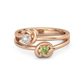 18K Rose Gold Ring with Peridot and White Sapphire