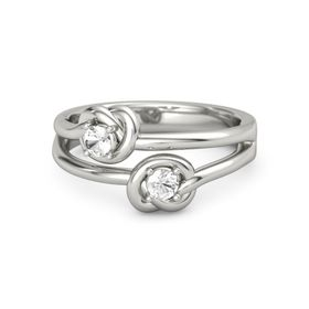 18K White Gold Ring with Rock Crystal