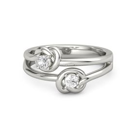 18K White Gold Ring with Rock Crystal and White Sapphire
