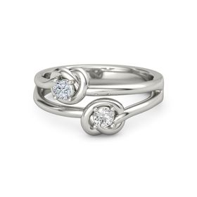 18K White Gold Ring with White Sapphire & Diamond