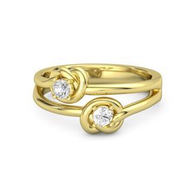 18K Yellow Gold Ring with Rock Crystal & White Sapphire