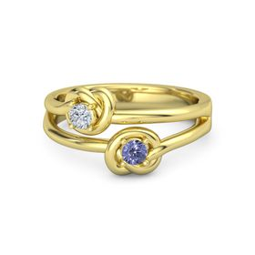 18K Yellow Gold Ring with Tanzanite and Diamond