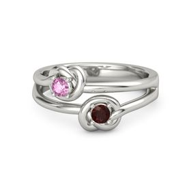 Palladium Ring with Red Garnet and Pink Sapphire