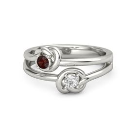 Palladium Ring with White Sapphire and Red Garnet