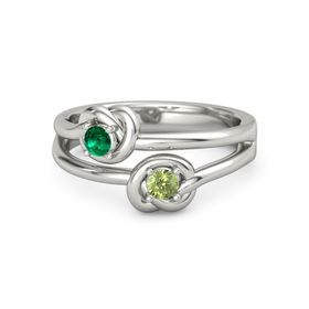 Palladium Ring with Peridot and Emerald