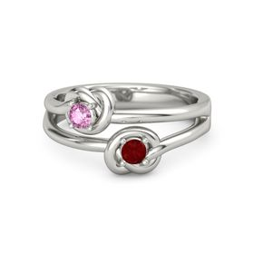Palladium Ring with Ruby & Pink Sapphire