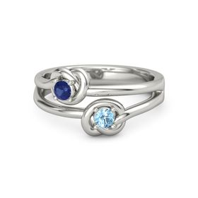 Palladium Ring with Blue Topaz and Blue Sapphire