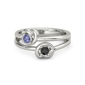 Platinum Ring with Black Diamond and Tanzanite