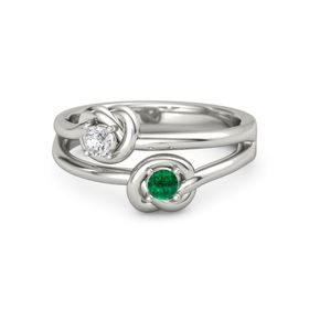Platinum Ring with Emerald & White Sapphire