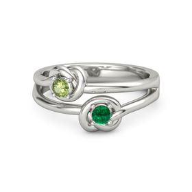 Platinum Ring with Emerald & Peridot