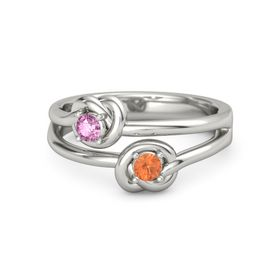 Platinum Ring with Fire Opal and Pink Sapphire