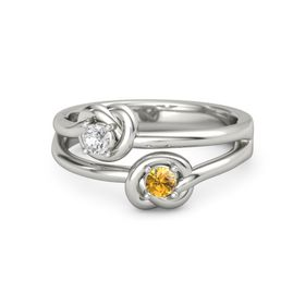Platinum Ring with Citrine & White Sapphire