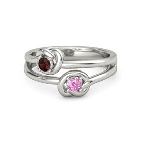 Platinum Ring with Pink Sapphire & Red Garnet