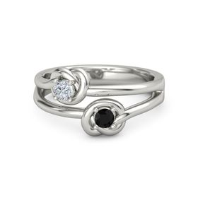 Platinum Ring with Black Onyx & Diamond