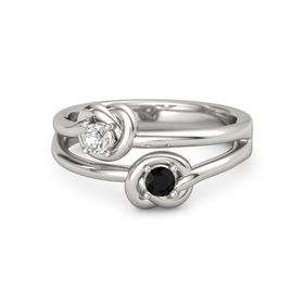 Platinum Ring with Black Onyx and White Sapphire