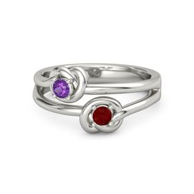 Platinum Ring with Ruby and Amethyst