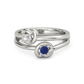 Platinum Ring with Blue Sapphire and White Sapphire