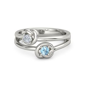 Platinum Ring with Blue Topaz & Diamond
