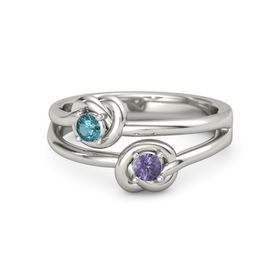 Platinum Ring with Iolite and London Blue Topaz