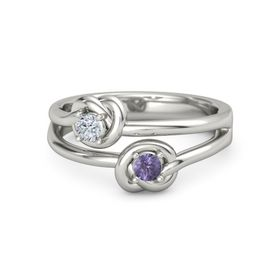 Platinum Ring with Iolite & Diamond