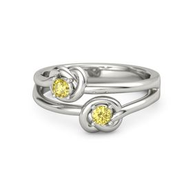 Platinum Ring with Yellow Sapphire