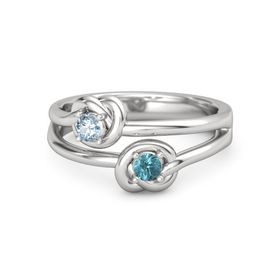 Sterling Silver Ring with London Blue Topaz & Aquamarine