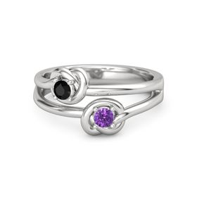 Sterling Silver Ring with Amethyst and Black Onyx