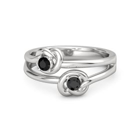 Sterling Silver Ring with Black Diamond and Black Onyx