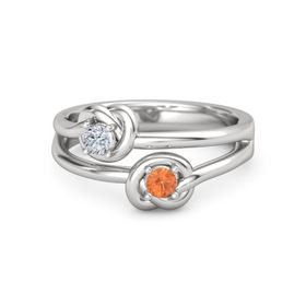 Sterling Silver Ring with Fire Opal and Diamond