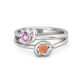 Sterling Silver Ring with Fire Opal & Pink Sapphire