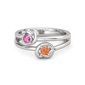 Sterling Silver Ring with Fire Opal & Pink Tourmaline