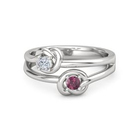 Sterling Silver Ring with Rhodolite Garnet & Diamond