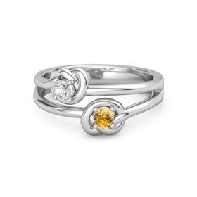 Sterling Silver Ring with Citrine and White Sapphire