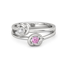 Sterling Silver Ring with Pink Sapphire & White Sapphire