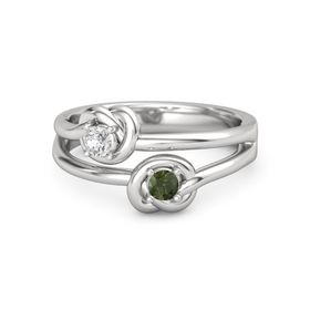 Sterling Silver Ring with Green Tourmaline & White Sapphire