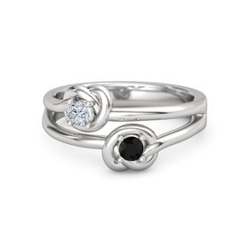Sterling Silver Ring with Black Onyx and Diamond
