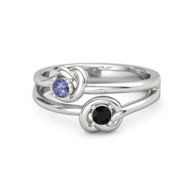 Sterling Silver Ring with Black Onyx and Tanzanite