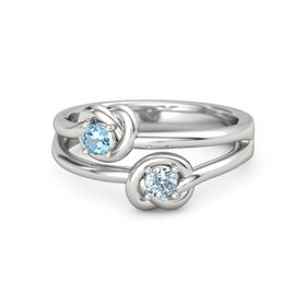 Sterling Silver Ring with Aquamarine & Blue Topaz