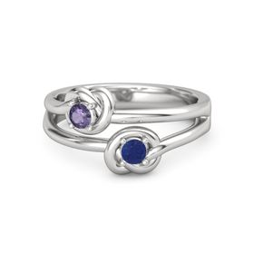 Sterling Silver Ring with Blue Sapphire and Iolite